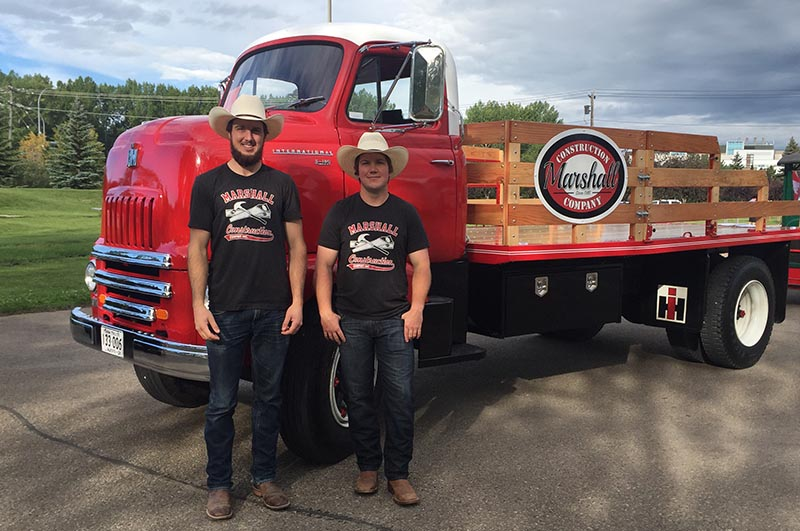 Marshall brothers with their vintage Marshall Construction truck